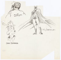 Sal Amendola, Morris Waldinger, and John Costanza Batman and Other Sketches on One Sheet Original Art (c. 1980s)