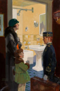 Mainstream Illustration, Donald Gardner (American, 20th Century). Arriving at the Hotel. Oil on canvas. 36 x 25 in.. Signed lower left. The I...