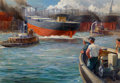 Mainstream Illustration, Anton Otto Fischer (American, 1882-1962). Shipyard Freighter Launch, 1941. Oil on canvas. 22 x 32 in.. Signed and dated ...