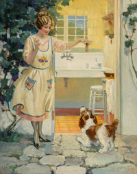 Andrew Loomis (American, 1892-1959) A Snack for Fido Oil on canvas 38 x 30 in. Signed lower left  The IRI Collec