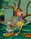 Paintings, Victor Olson (American, 1924-2007). The Hammock. Oil on canvas. 30 x 24 in.. Signed lower left. ...