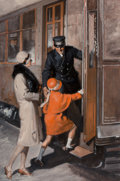 Mainstream Illustration, Frank Bensing (American, 1893-1993). Catching the Train, 1928. Oil on canvas. 36 x 24 in.. Signed and dated center left...