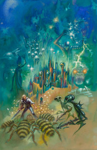 Kelly Freas (American, 1922-2005) The Wizards of Senchuria paperback cover, 1969 Mixed media on boar