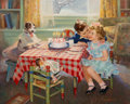 Mainstream Illustration, Frederick Sands Brunner (American, 1886-1954). Birthday Kisses. Oil on canvas. 27 x 34 in.. Signed lower right. The ...