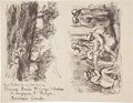 Books:Manuscripts, Maximilien Luce. Autograph Letter Signed with Drawings. . ...