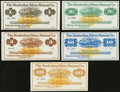 Obsoletes By State:Nevada, Austin, NV- Manhattan Silver Mining Co. $1; $3; $5; $10; $20 187_ Remainders Crisp Uncirculated.. ... (Total: 5 notes)