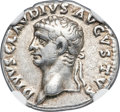 Ancients:Roman Imperial, Ancients: Divus Claudius I (AD 41-54). AR denarius (18mm, 3.69 gm, 3h). NGC VF★ 5/5 - 5/5....
