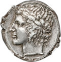 Ancients:Greek, Ancients: SICILY. Leontini. Ca. 450-420 BC. AR tetradrachm (24mm, 17.20 gm, 1h). NGC AU 4/5 - 4/5....