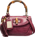 """Luxury Accessories:Bags, Gucci Purple Crocodile Bamboo Top Handle Bag. Condition: 3. 10"""" Width x 7"""" Height x 4"""" Depth. ..."""