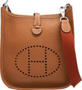 """Luxury Accessories:Bags, Hermès Gold Clemence Leather Evelyne TPM Bag with Palladium Hardware. C, 2018. Condition: 1. 6.5"""" Width x 7.5"""" Hei..."""