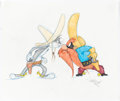 Animation Art:Production Drawing, Virgil Ross - Bugs Bunny and Yosemite Sam Drawing (Warner Brothers, c. 1990s)....