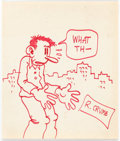 Original Comic Art:Sketches, Robert Crumb Flakey Foont Large-Scale Sketch Original Art (1970)....