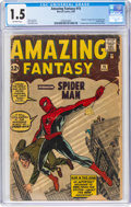 Silver Age (1956-1969):Superhero, Amazing Fantasy #15 (Marvel, 1962) CGC FR/GD 1.5 Off-white pages....