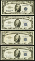 Small Size:Silver Certificates, Fr. 1706 $10 1953 Silver Certificate. Very Fine-Extremely Fine;. Fr. 1708 $10 1953B Silver Certificates. Three Examples. V... (Total: 4 notes)