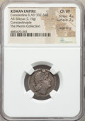Ancients:Roman Imperial, Ancients: Constantine II, as Augustus (AD 337-340). AR siliqua (20mm, 2.15 gm, 6h). NGC Choice VF 4/5 - 2/5, edge filing....