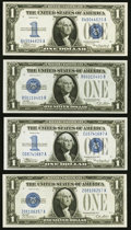 Small Size:Silver Certificates, Fr. 1601 $1 1928A Silver Certificates. Two Examples. Choice Crisp Uncirculated;. Fr. 1606 $1 1934 Silver Certificates. Two... (Total: 4 notes)