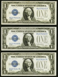 Small Size:Silver Certificates, Fr. 1601 $1 1928A Silver Certificates. Three Consecutive Examples. Choice Crisp Uncirculated.. ... (Total: 3 notes)