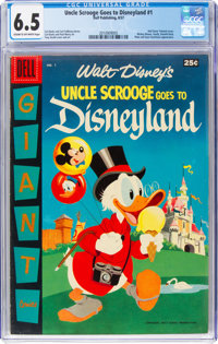 Dell Giant Comics: Uncle Scrooge Goes to Disneyland #1 (Dell, 1957) CGC FN+ 6.5 Cream to Off-White pages