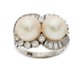 Estate Jewelry:Rings, Cultured Pearl, Diamond, Platinum Ring The rin...
