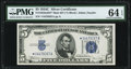 Small Size:Silver Certificates, Fr. 1653* $5 1934C Mule Silver Certificate with Back Plate 637. PMG Choice Uncirculated 64 EPQ.. ...