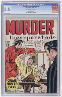 """Murder Incorporated #8 Davis Crippen (""""D"""" Copy) pedigree (Fox Features Syndicate, 1949) CGC VF+ 8.5 Off-white..."""