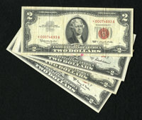 $2 Legals including 1953 Choice AU; 1953C Fine; 1963* VF, edge tear and red ink; and 1963A Choice AU