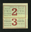 Obsoletes By State:New Hampshire, Concord, NH- Unidentified Issuer 2¢; 3¢ Jul. 1, 1864. This merchant scrip uses a different green background for each denomin...