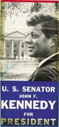 """Autographs:U.S. Presidents, John F. Kennedy Signed Campaign Brochure. The front cover to a 3.5"""" x 7.5"""" """"U.S. Senator John F. Kennedy for President"""" pamp..."""