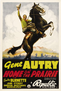"""Home on the Prairie (Republic, 1939). One Sheet (27"""" X 41""""). Considered by collectors to be one of the best po..."""