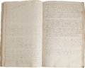 Miscellaneous:Ephemera, Society of Friends Manuscript Book of Minutes An important piece of Quaker history, a leather-bound manuscript book of minut...