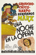"""Movie Posters:Comedy, A Night at the Opera (MGM, 1935). Spanish Language One Sheet (27"""" X41""""). This is a fun image of the Marx Brothers from thei..."""