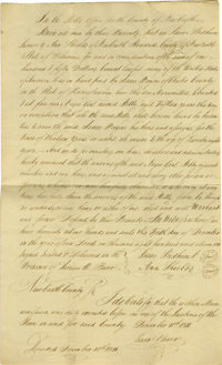 General Anthony Wayne's Son Isaac Indenture and Associated Slave Manumission. This lot consists of a handwritten slave m...