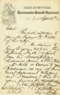 Autographs:U.S. Presidents, Chester A. Arthur Excellent Autograph Letter Signed: Letter of introduction of Cyrus W. Field to Richard Delafield.. Signe...