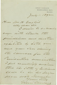 Grover Cleveland Excellent Political Autograph Letter Signed: Writing a week after he is nominated for President at his...