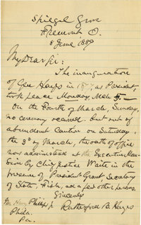 "Rutherford B. Hayes Historic Autograph Letter Signed: Hayes recounts how ""out of abundant caution,"" just four..."