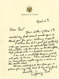 "Autographs:U.S. Presidents, Gerald R. Ford Superb Autograph Letter Signed: ""I believe we dida good job particularly when you measure it against the C..."