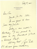"Autographs:U.S. Presidents, George W. Bush Patriotic Autograph Letter Signed: On the Fourth of July, the President tells a friend in Texas, ""I am prou..."