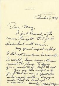 Richard Nixon Superb Autograph Letter Signed: Less than five months after his resignation, the former President writes a...