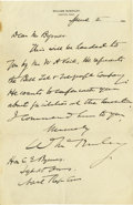 Autographs:U.S. Presidents, William McKinley Superb Autograph Letter Signed: Wishing to listen to the 1896 convention that would nominate him for Presid...
