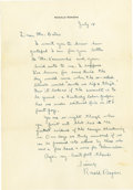 "Autographs:U.S. Presidents, Ronald Reagan Superb Political Autograph Letter Signed: ""I'veknown for some time the day would come when the so-called li..."