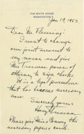 Autographs:U.S. Presidents, Harry S. Truman Superb Autograph Letter Signed: On his last full day as President, Harry Truman takes his wife's name off hi...