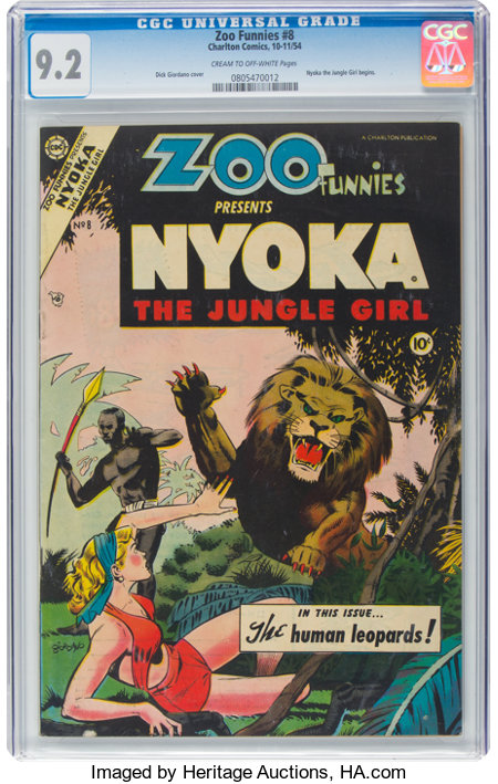 Zoo Funnies #8 (Charlton, 1954) CGC NM- 9.2 Cream to off-white pages....