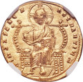 Ancients:Byzantine, Ancients: Constantine VII Porphyrogenitus (AD 913-959), with Romanus II (AD 945-963). AV solidus (20mm, 4.45 gm, 7h). NGC MS 5/5 - 4/5. ...