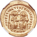 Ancients:Byzantine, Ancients: Justin I and Justinian I (4 April-1 August AD 527). AV solidus (20mm, 4.48 gm, 6h). NGC MS 5/5 - 4/5....