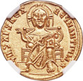 Ancients:Byzantine, Ancients: Basil I the Macedonian (AD 867-886), with Constantine. AV solidus (20mm, 4.44 gm, 6h). NGC MS 5/5 - 3/5....
