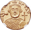 Ancients:Byzantine, Ancients: Leontius (AD 695-698). AV solidus (19mm, 4.38 gm, 7h). NGC MS 4/5 - 3/5, clipped....