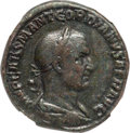 Ancients:Roman Imperial, Ancients: Gordian I Africanus (March-April AD 238). AE sestertius (28mm, 17.43 gm, 12h). NGC Choice VF 5/5 - 3/5, Fine Style, slight smo...