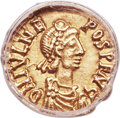 Ancients:Roman Imperial, Ancients: Julius Nepos, Western Roman Empire (AD 474-75/80). AV tremissis (13mm, 6h). ANACS EF 45....