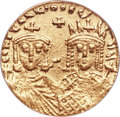 Ancients:Byzantine, Ancients: Constantine VI and Irene (AD 787-797), with Leo III, Constantine V, and Leo IV. AV solidus (19mm, 6h). ANACS EF 40....