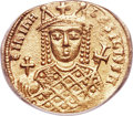Ancients:Byzantine, Ancients: Irene, sole reign (AD 797-802). AV solidus (20mm, 4.36 gm, 6h). ANACS EF 40....